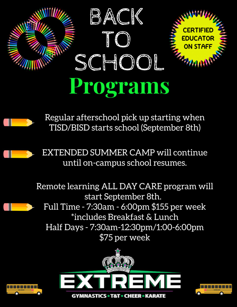 Extreme Back to School Programs!