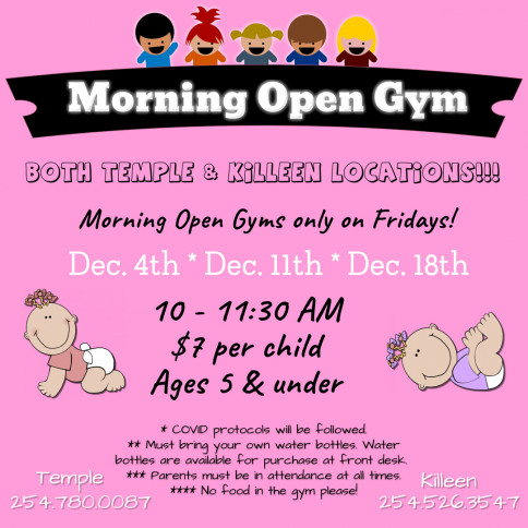 Morning Open Gyms are BACK at BOTH locations!!